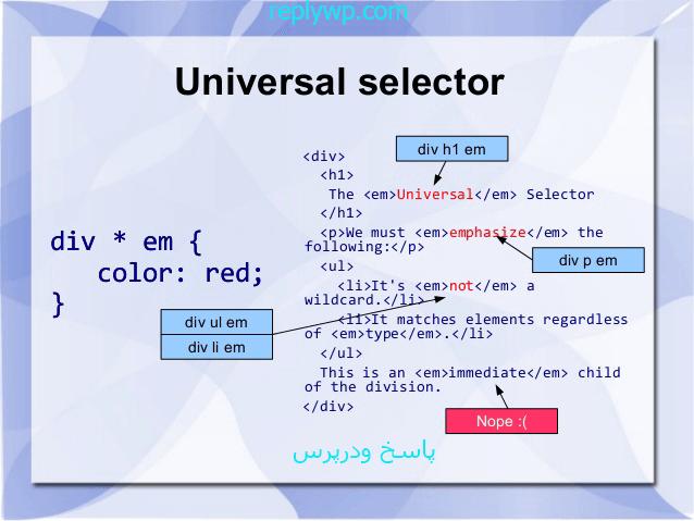 آموزش html and css معرفی سلکتور